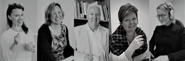 Porträttbilder av fem språkkonsulter: Annasara, Mats, Susanne, Anki och Sara.
